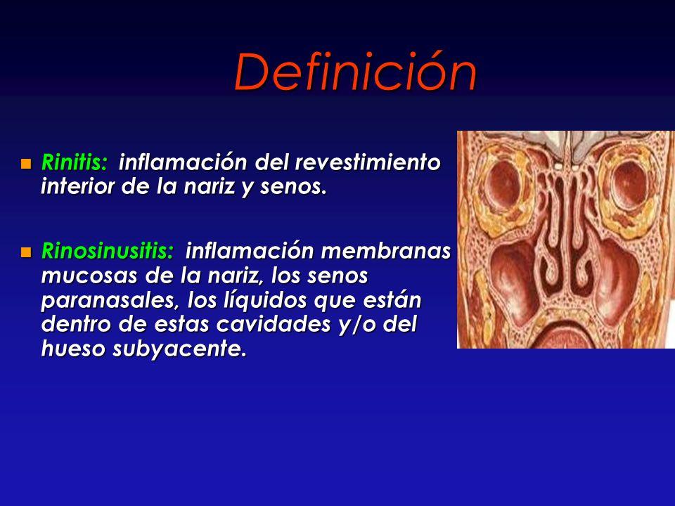Definición Rinitis: inflamación del revestimiento interior de la nariz y senos.