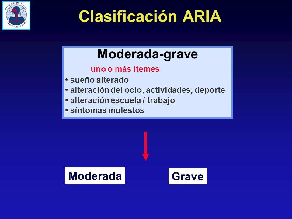 Clasificación ARIA Moderada-grave Moderada Grave uno o más ítemes