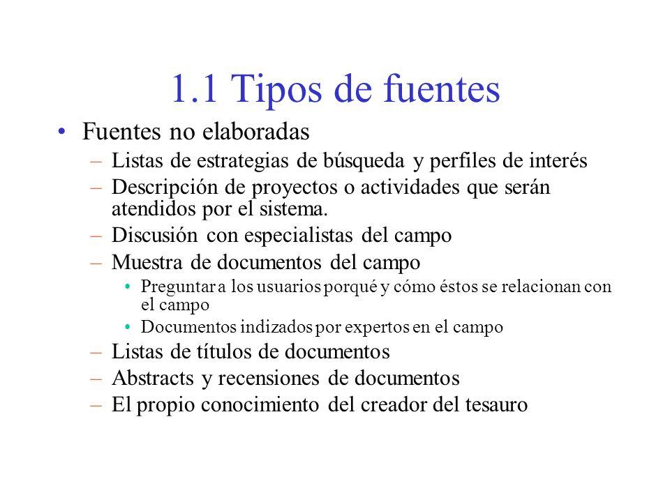 1.1 Tipos de fuentes Fuentes no elaboradas