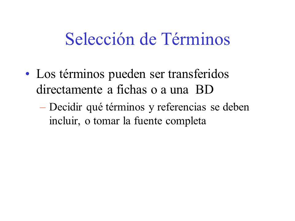 Selección de Términos Los términos pueden ser transferidos directamente a fichas o a una BD.