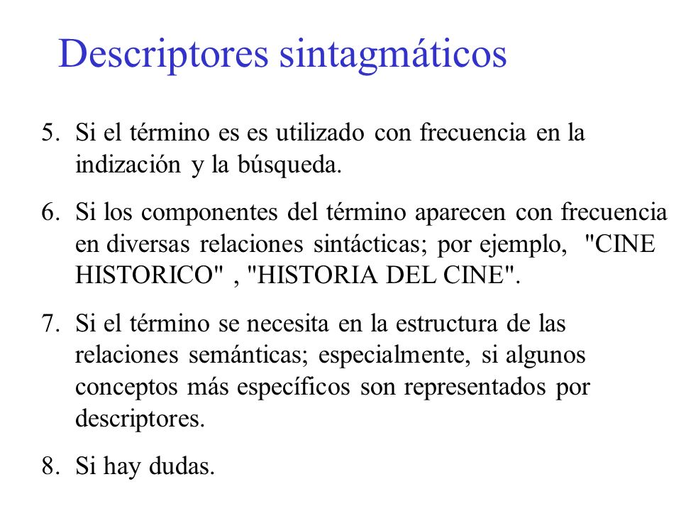 Descriptores sintagmáticos