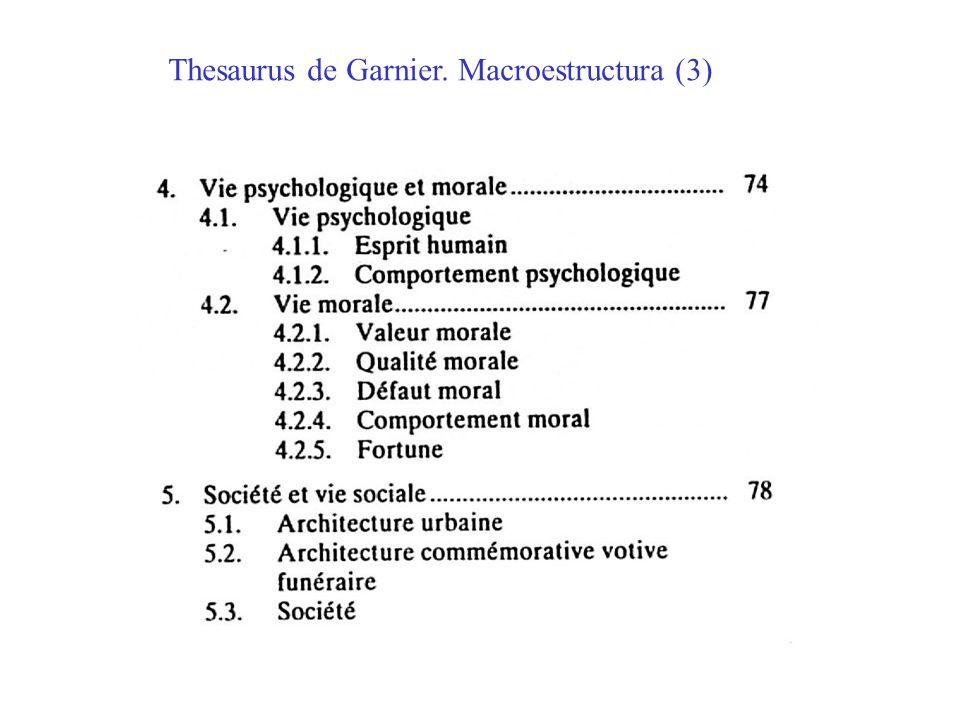 Thesaurus de Garnier. Macroestructura (3)