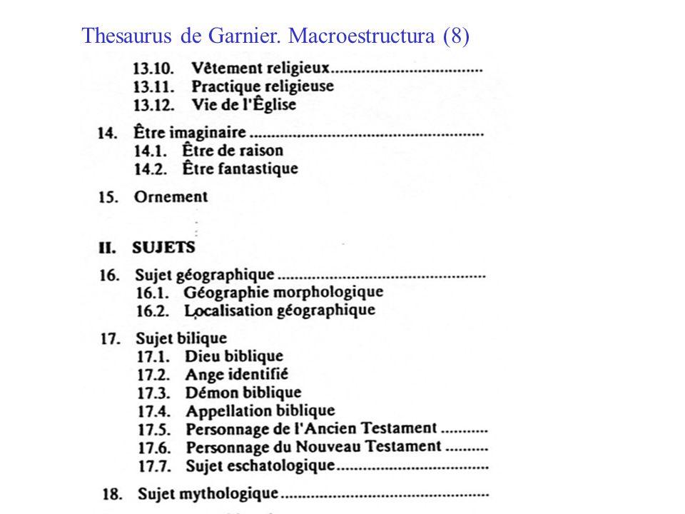 Thesaurus de Garnier. Macroestructura (8)