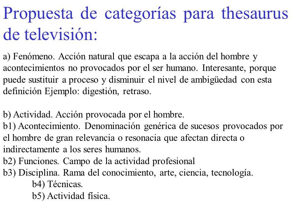 Propuesta de categorías para thesaurus de televisión:
