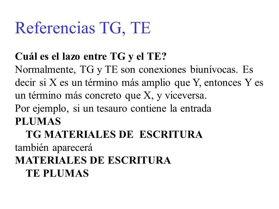 Referencias TG, TE Cuál es el lazo entre TG y el TE