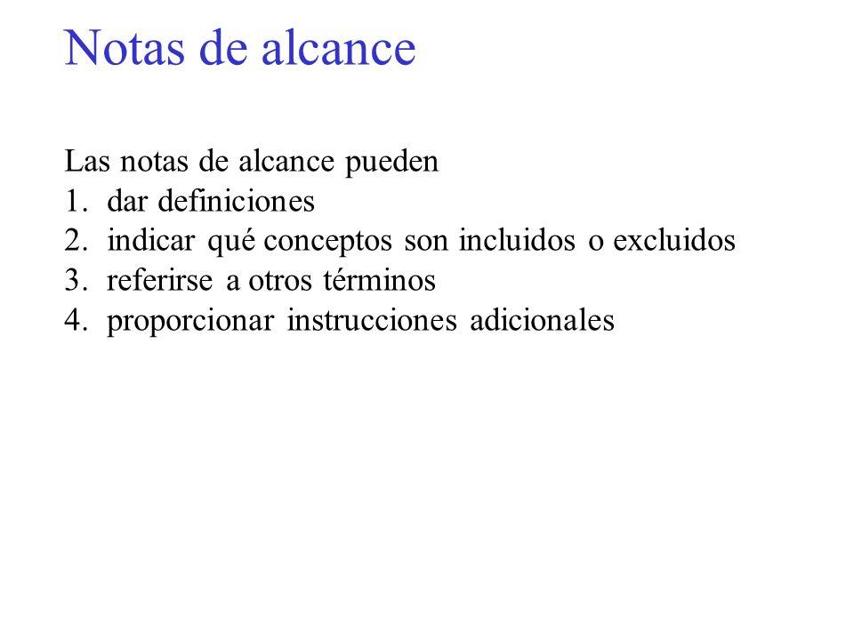 Notas de alcance Las notas de alcance pueden dar definiciones