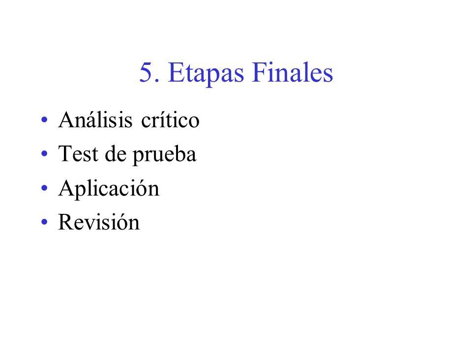 5. Etapas Finales Análisis crítico Test de prueba Aplicación Revisión