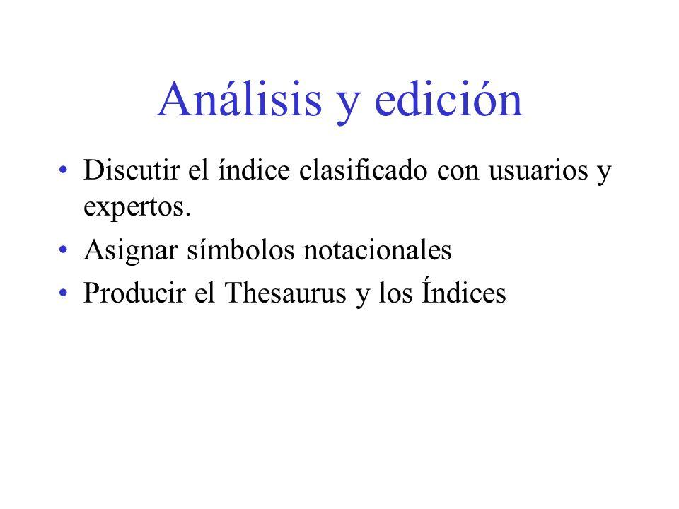 Análisis y edición Discutir el índice clasificado con usuarios y expertos. Asignar símbolos notacionales.