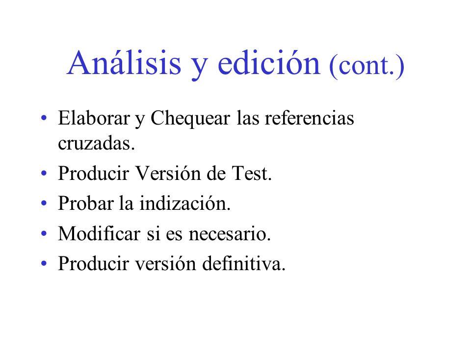 Análisis y edición (cont.)