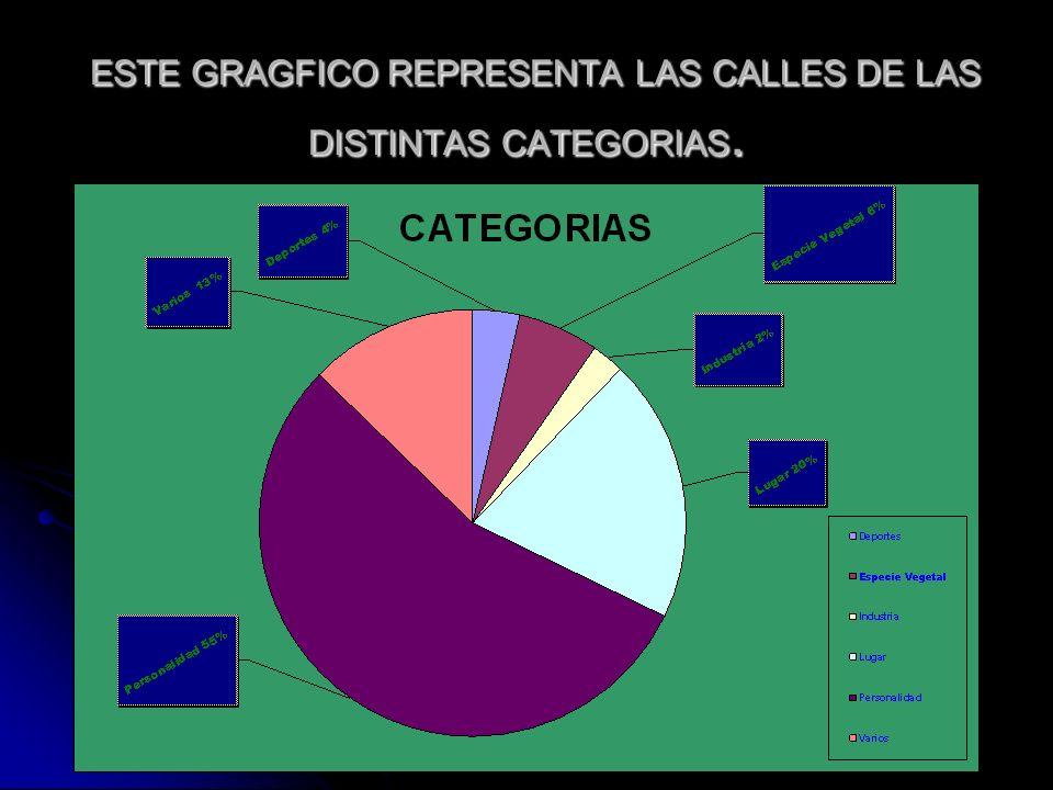 ESTE GRAGFICO REPRESENTA LAS CALLES DE LAS DISTINTAS CATEGORIAS.