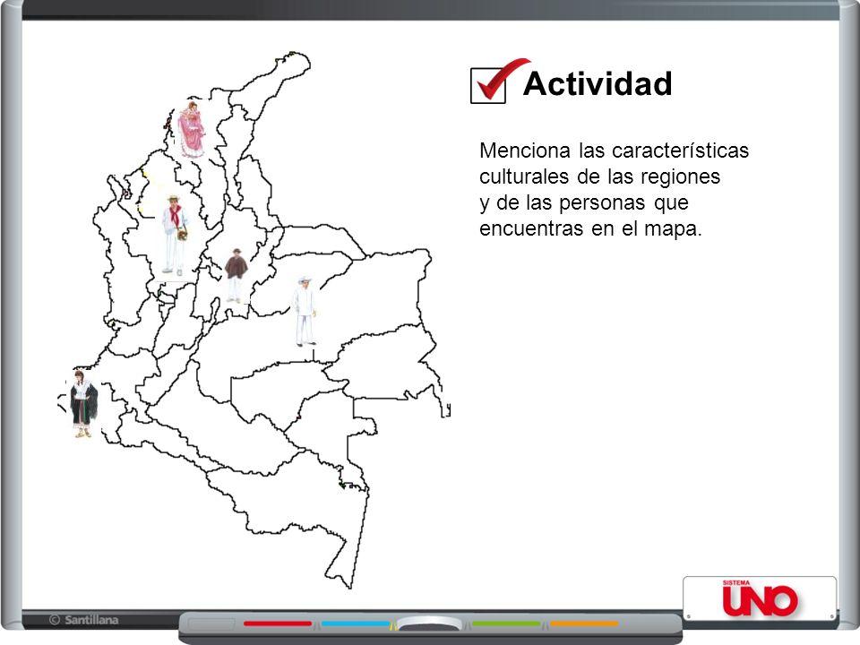 Actividad Menciona las características culturales de las regiones