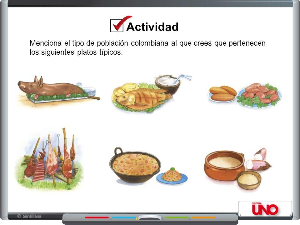 Actividad Menciona el tipo de población colombiana al que crees que pertenecen.
