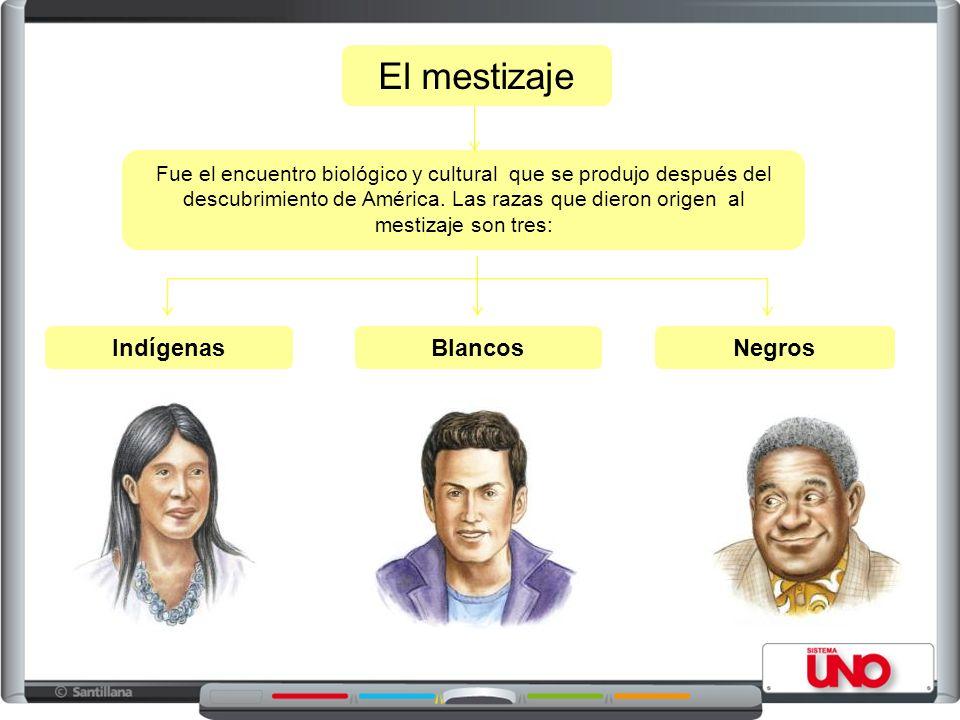 El mestizaje Indígenas Blancos Negros