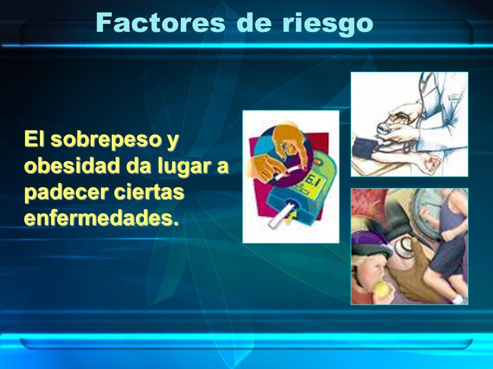 Factores de riesgo El sobrepeso y obesidad da lugar a padecer ciertas enfermedades.