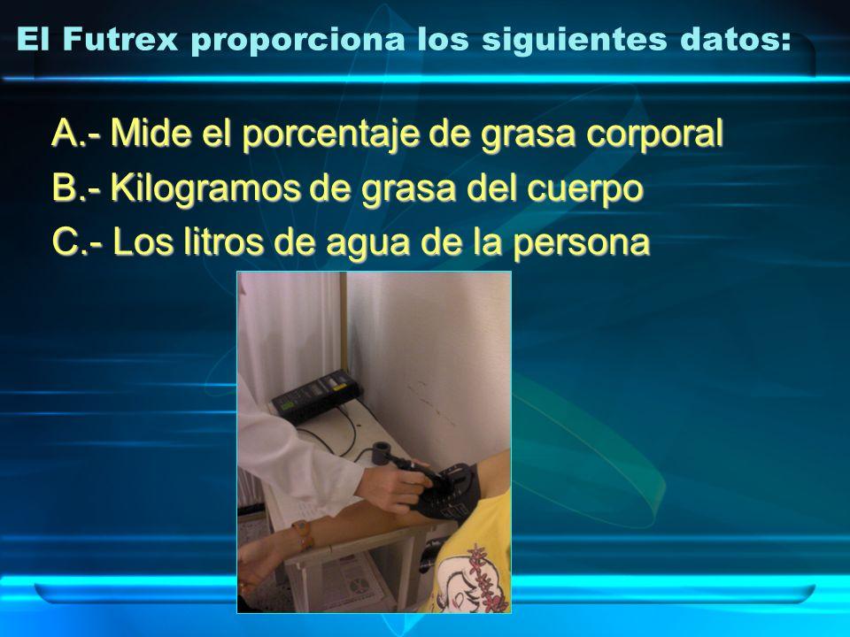 El Futrex proporciona los siguientes datos: