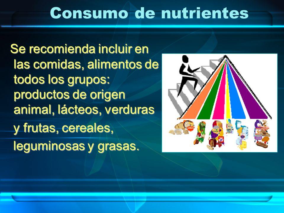 Consumo de nutrientes Se recomienda incluir en las comidas, alimentos de todos los grupos: productos de origen animal, lácteos, verduras.