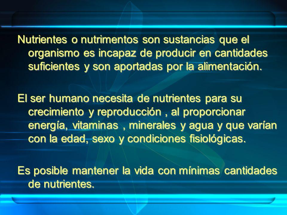 Nutrientes o nutrimentos son sustancias que el organismo es incapaz de producir en cantidades suficientes y son aportadas por la alimentación.