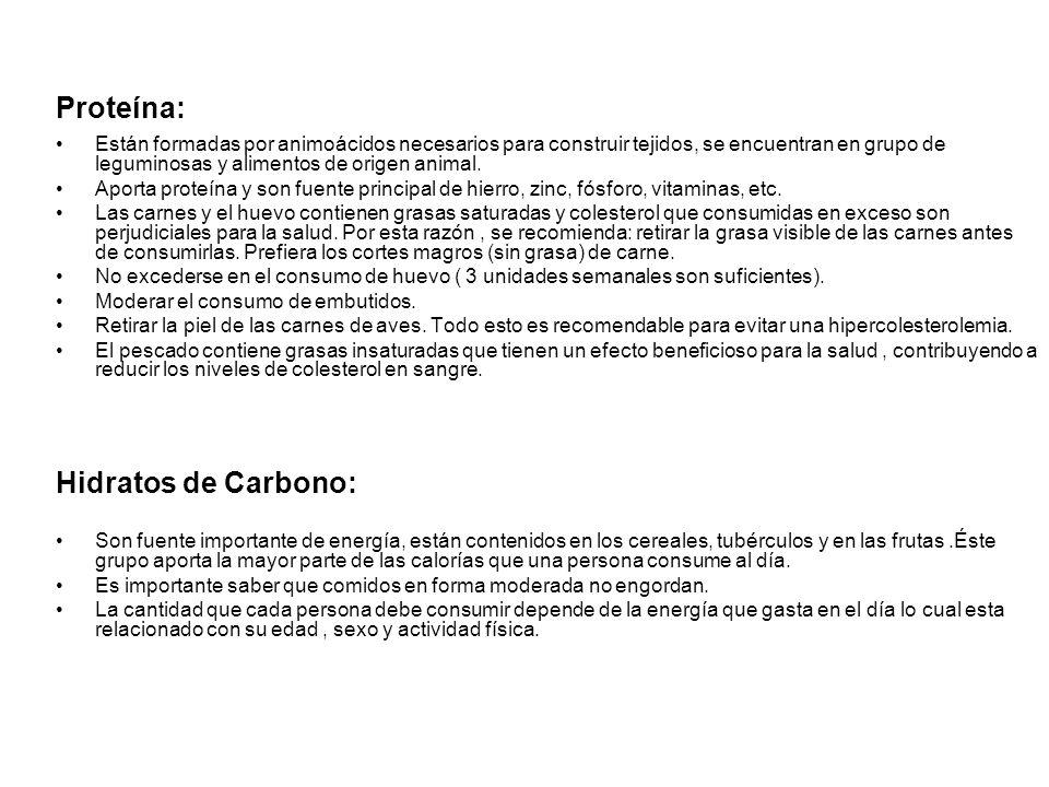 Proteína: Hidratos de Carbono: