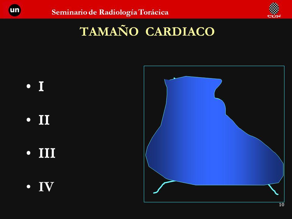 TAMAÑO CARDIACO I II I II III IV I II III I