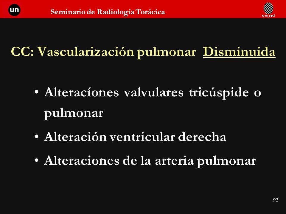 CC: Vascularización pulmonar Disminuida
