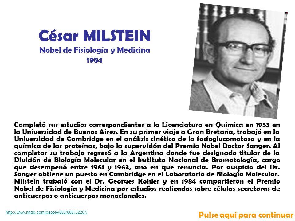 César MILSTEIN Nobel de Fisiología y Medicina
