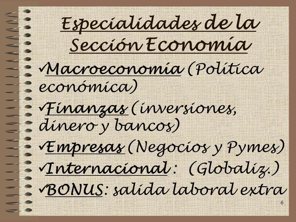 Especialidades de la Sección Economía