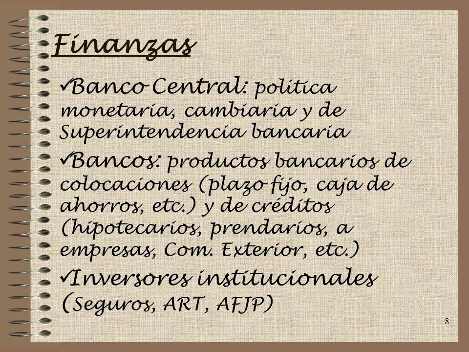 Finanzas Banco Central: política monetaria, cambiaria y de Superintendencia bancaria.