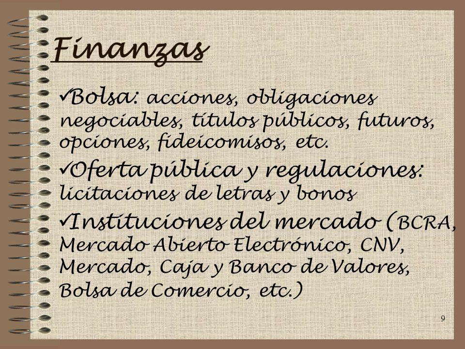 Finanzas Bolsa: acciones, obligaciones negociables, títulos públicos, futuros, opciones, fideicomisos, etc.