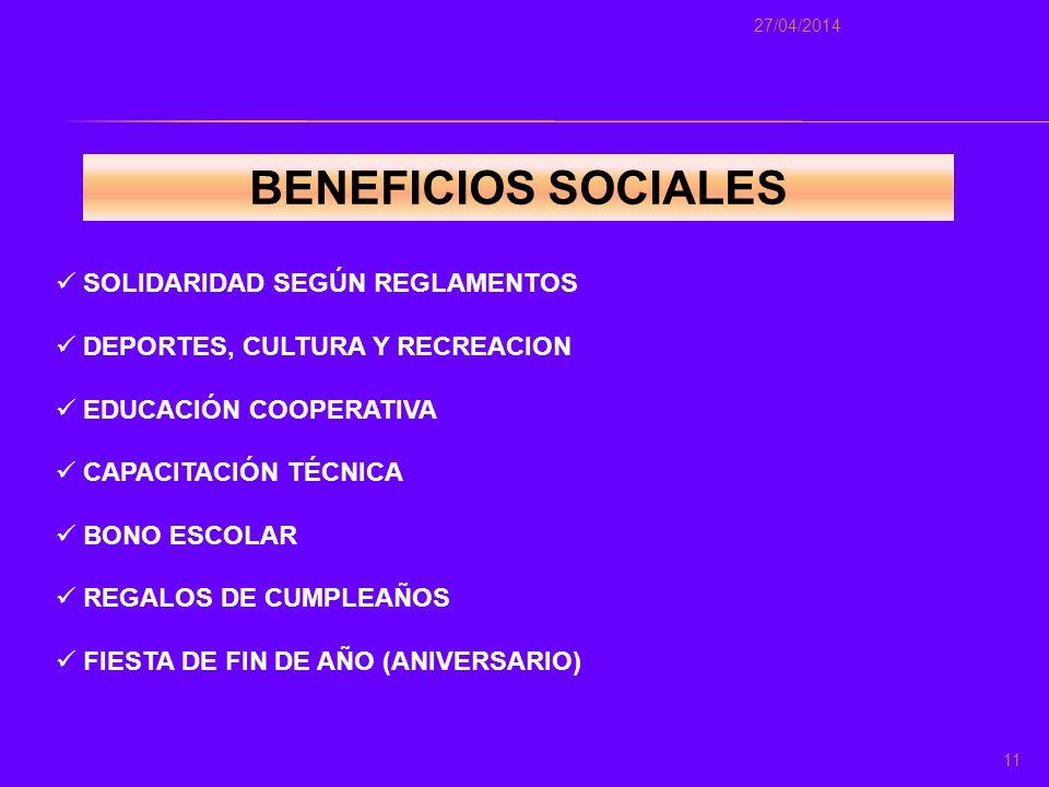 BENEFICIOS SOCIALES SOLIDARIDAD SEGÚN REGLAMENTOS