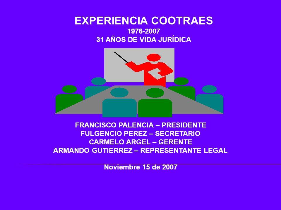 EXPERIENCIA COOTRAES 1976-2007 31 AÑOS DE VIDA JURÍDICA