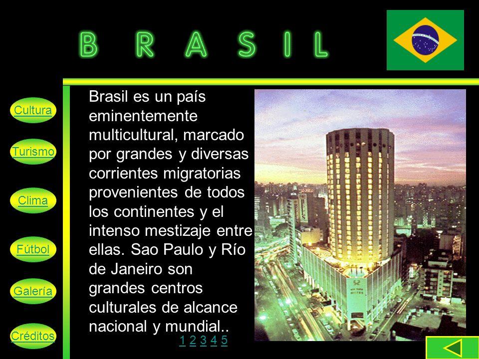 Brasil es un país eminentemente multicultural, marcado por grandes y diversas corrientes migratorias provenientes de todos los continentes y el intenso mestizaje entre ellas. Sao Paulo y Río de Janeiro son grandes centros culturales de alcance nacional y mundial..