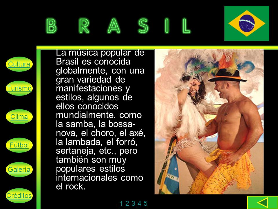 La música popular de Brasil es conocida globalmente, con una gran variedad de manifestaciones y estilos, algunos de ellos conocidos mundialmente, como la samba, la bossa-nova, el choro, el axé, la lambada, el forró, sertaneja, etc., pero también son muy populares estilos internacionales como el rock.