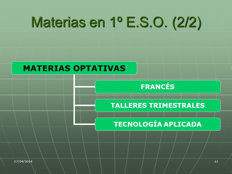 Materias en 1º E.S.O. (2/2) 29/03/2017