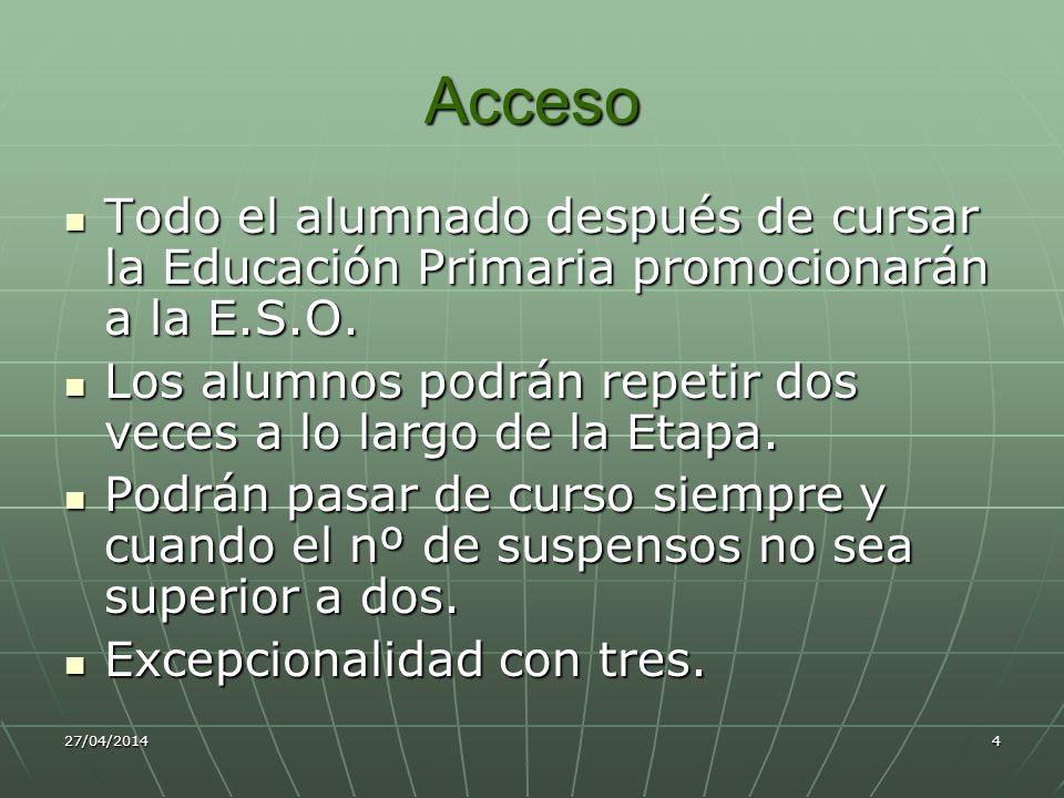 Acceso Todo el alumnado después de cursar la Educación Primaria promocionarán a la E.S.O.