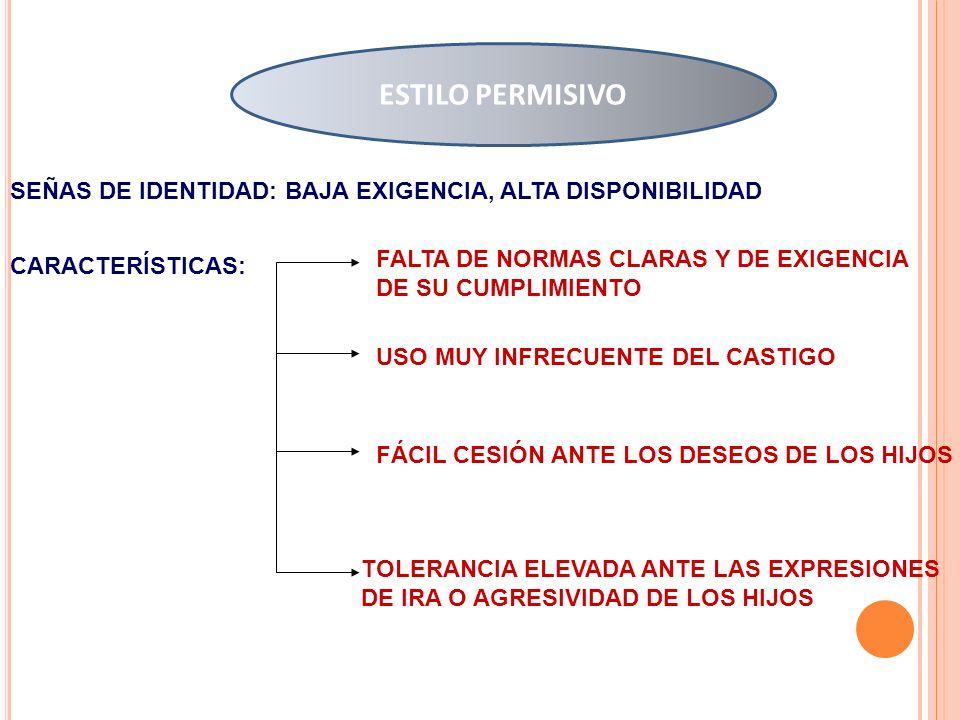 ESTILO PERMISIVO SEÑAS DE IDENTIDAD: BAJA EXIGENCIA, ALTA DISPONIBILIDAD. FALTA DE NORMAS CLARAS Y DE EXIGENCIA DE SU CUMPLIMIENTO.