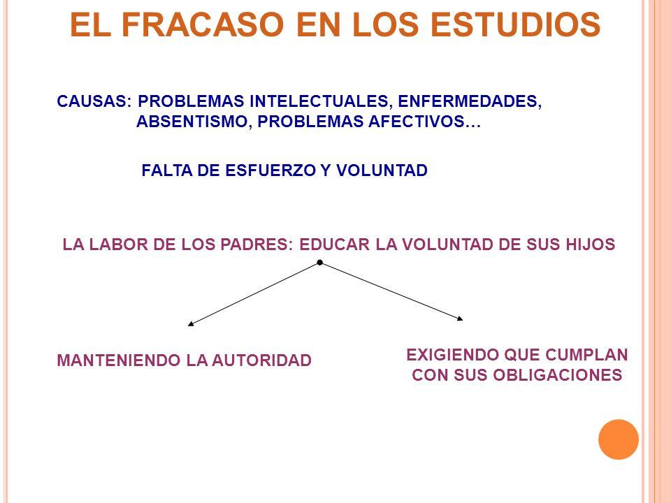 EL FRACASO EN LOS ESTUDIOS EXIGIENDO QUE CUMPLAN CON SUS OBLIGACIONES