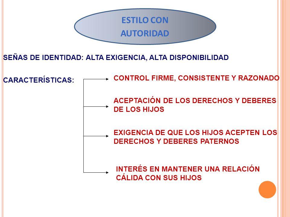 ESTILO CON AUTORIDAD SEÑAS DE IDENTIDAD: ALTA EXIGENCIA, ALTA DISPONIBILIDAD. CONTROL FIRME, CONSISTENTE Y RAZONADO.