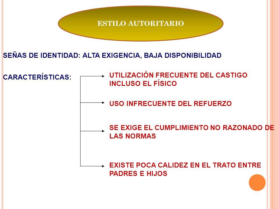 ESTILO AUTORITARIO SEÑAS DE IDENTIDAD: ALTA EXIGENCIA, BAJA DISPONIBILIDAD. UTILIZACIÓN FRECUENTE DEL CASTIGO INCLUSO EL FÍSICO.