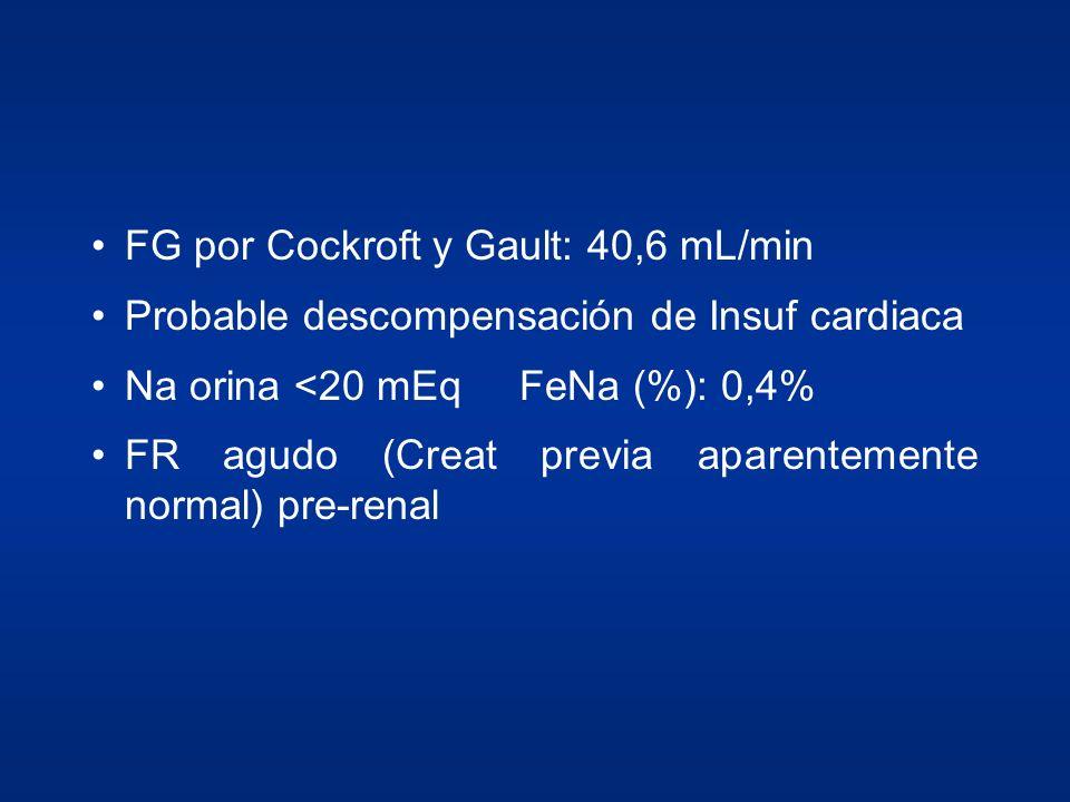FG por Cockroft y Gault: 40,6 mL/min