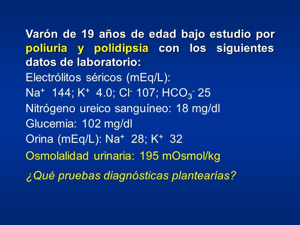 Varón de 19 años de edad bajo estudio por poliuria y polidipsia con los siguientes datos de laboratorio: