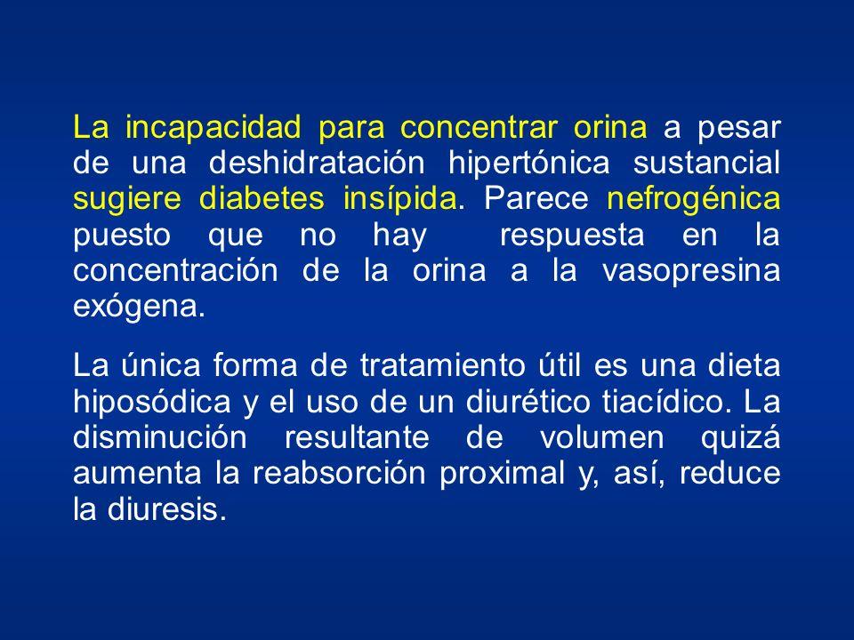La incapacidad para concentrar orina a pesar de una deshidratación hipertónica sustancial sugiere diabetes insípida. Parece nefrogénica puesto que no hay respuesta en la concentración de la orina a la vasopresina exógena.