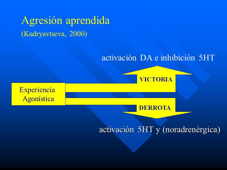 Agresión aprendida activación DA e inhibición 5HT