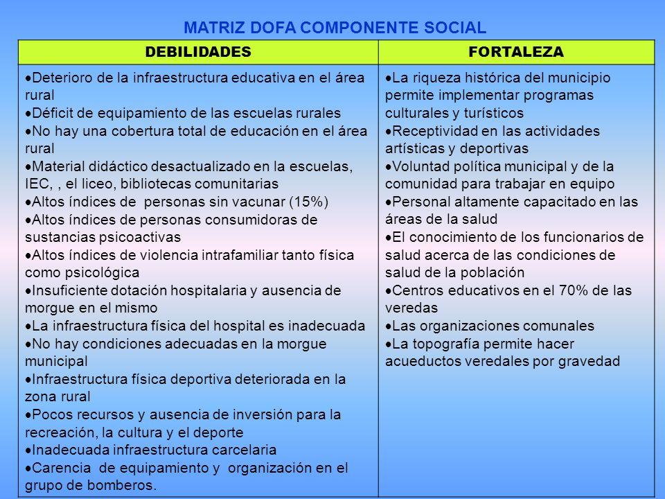 MATRIZ DOFA COMPONENTE SOCIAL