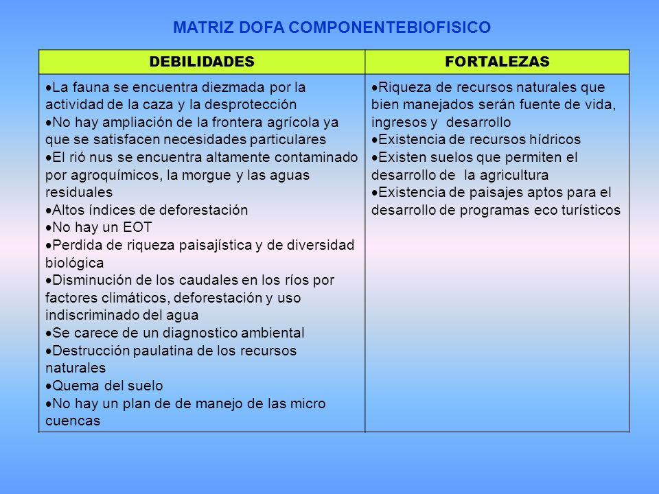 MATRIZ DOFA COMPONENTEBIOFISICO