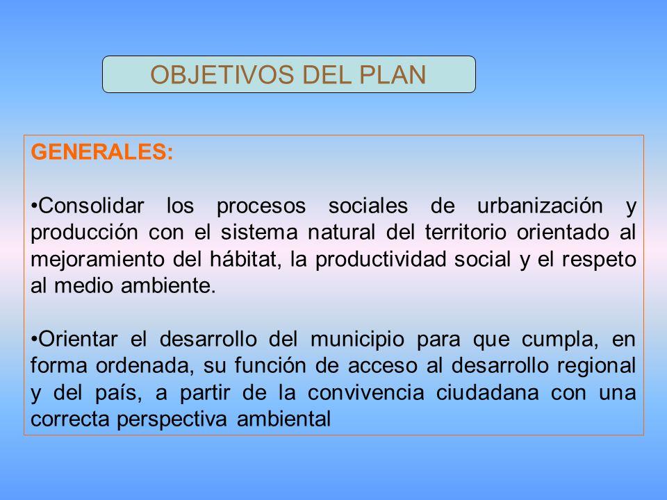 OBJETIVOS DEL PLAN GENERALES: