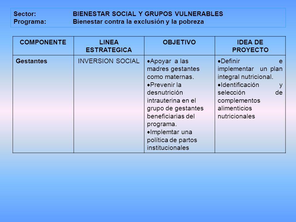 Sector: BIENESTAR SOCIAL Y GRUPOS VULNERABLES