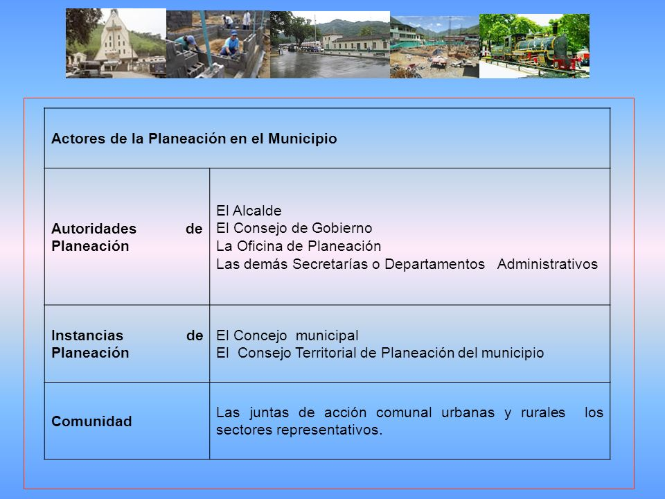 Actores de la Planeación en el Municipio