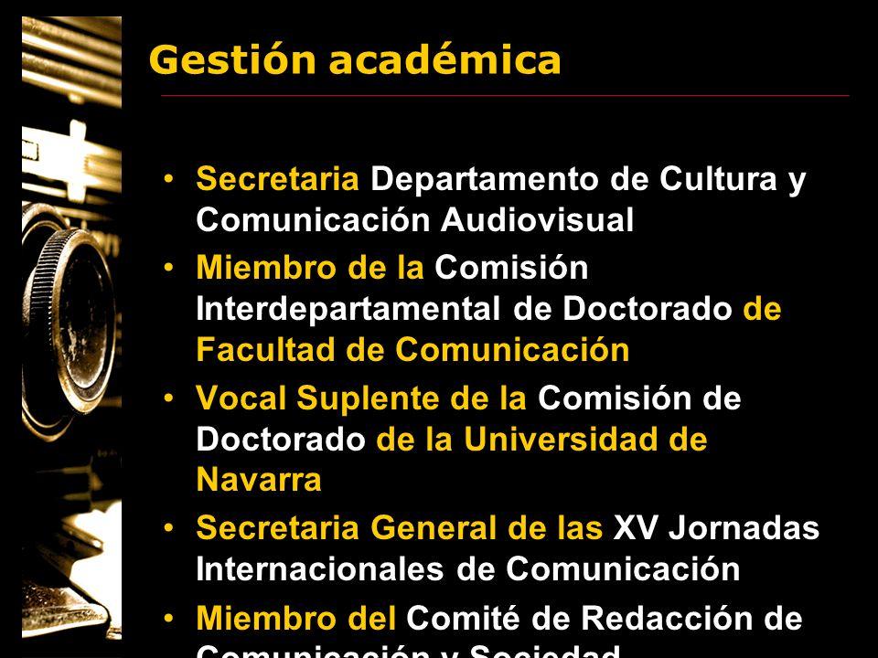 Gestión académica Secretaria Departamento de Cultura y Comunicación Audiovisual.
