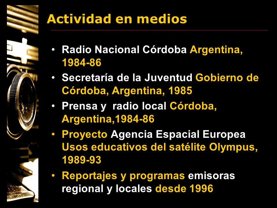 Actividad en medios Radio Nacional Córdoba Argentina, 1984-86