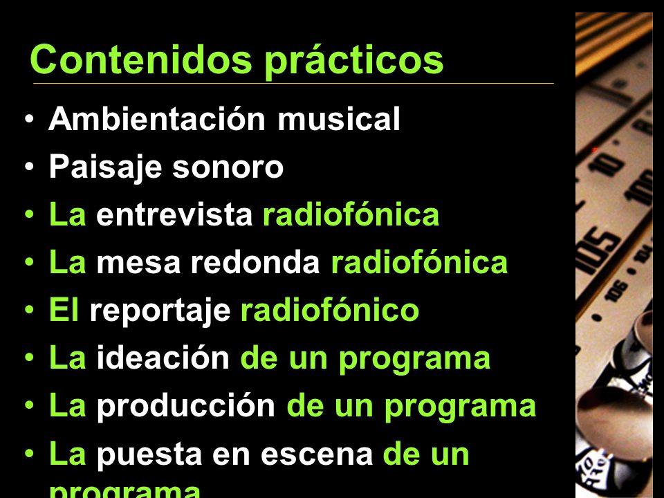 Contenidos prácticos Ambientación musical Paisaje sonoro